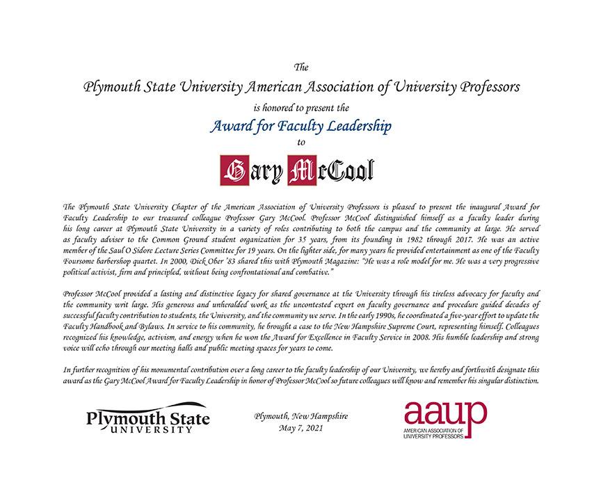 McCool Award citation